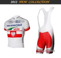 Free Shipping!! MEN'S SUMMER CYCLING JERSEY+BIB SHORTS 2012 VACANSOLEILTEAM-white-SZ: xS-4XL& Wholesale/Retail