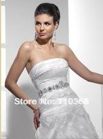 Diamond White Organza Strapless Neckline Sleeveless Bridal Wedding Dresses,New Style Wedding Bridal Dresses-Marcela