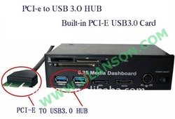 Free shipping 5.25 Media Dashboard PCI-e to USB 3.0 HUB and USB2.0 All-in-one card reader with SATA AND ESATA Slot ULS-528(China (Mainland))
