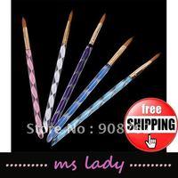 5pcs/set 2-Way Acrylic Nail Art Design Pen Brush Cuticle free shipping HK airmail
