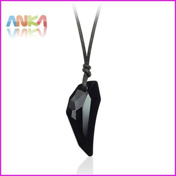 Free Shipping HIGH Quality Wholesale Womens Necklace Sexy Wolf Tooth Crystal Black Pendant 29mm*13mm with Cotton rope#79775