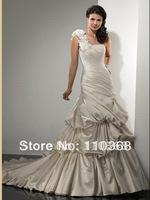 Champagne Mist Satin One-shoulder Neckline Sleeveless Bridal Wedding Dresses,New Style Wedding Bridal Dresses-Raylene