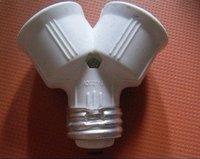 Free shipping E27 to 2E27 lamp holder adapter Led Halogen CFL light bulb lamp adapter E27~2E27 converter New 20pcs