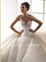 Ivory Tulle One-shoulder Sweetheart Neckline Sleeveless Bridal Wedding Gowns,New Style Wedding Bridal Gowns-Starla