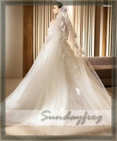 Fast Free Shipping In Stock Wedding 3.5M Hot Sale Top Quality Lace Appliques Long Veils in White Color -LS322