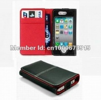 Leather wallet case for iphone 4 iphone 4S, free shipping