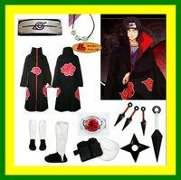 Free Shipping Naruto akatsuki cosplay costume cloak Cloth Ring Headband Shoes set Uchiha Itachi