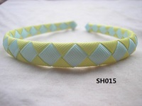 2012 NEW!! 1/2 inch 100  Pcs/Lot U Pickup Lemon/White Woven Ribbon Headbands  Girls Baby Infant + EMS  Free Shipping