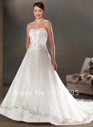 A-line bridal wedding dress. floor-length bra wedding dress,thick satin,Ball Gown Wedding Dresses(China (Mainland))