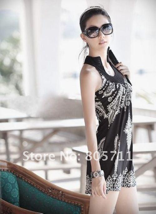 Wholesale Retail White Black Sexy dresses Printing Bohemian style Sleeveless
