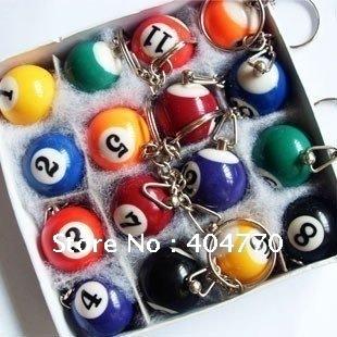 Fashion Billiards Pendant Keychain, Mini Billiard Key Ring, Snooker Table Ball Key Chains (16pcs/set, diameter 2.5cm), 16pcs/lot