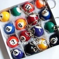 Fashion Billiards Pendant Keychain, Mini Billiard Key Ring, Snooker Table Ball Key Chains (16pcs/set, diameter 2.5cm), 16pcs/lot