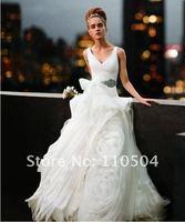 The bride white V-neck wedding new Qi (A-0063)