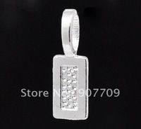 100 Silver Plated Tag Glue on Bail 21x7mm / fashion jewelry Diy Free shipping
