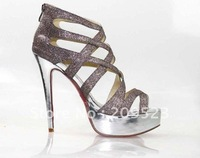 The new hot sexy red-soled shoes silver glitter to fight the Roman style high-heeled sandals waterproof shoes