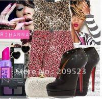European and American big black sheepskin boots shoesC010 V shape ankle boots,shoes boots