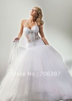 Sexy halter neck transparent corset ball gown organza  wedding dress