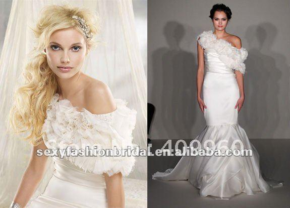 desinger 2012 sweetheart neckline removable shawl mermaid wedding dresses
