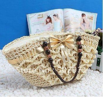 free shipping women shoulder bags handbags bag tote Dumpling shape Bow Wheat straw Knitting bag wholesale 1pcs