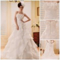 Factory Modern Real Model Dress Strapless A-line Court Train Beaded Handmade Flower Ruffer Satin Tulle Wedding Dresses 2012