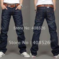 2014 free shipping Korea Men's Jeans Slim Fit Classic denim Jeans Trousers Straight Leg Blue Size 30~34 Button New 12