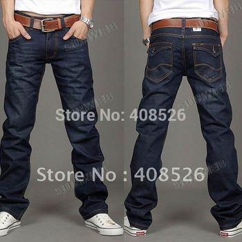 2014 free shipping Korea Men's Jeans Slim Fit Classic denim Jeans Trousers Straight Leg Blue Size 30~34 Button New 3563