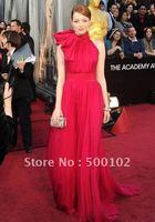 2012 84th Oscar Awards Emma Stone Vintage A Line High Neck Waist Band Chiffon Celebrity Pagent Dress