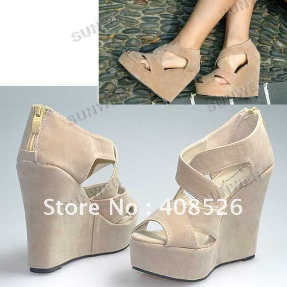 Wholesale 2012 New Lady/Women's High Heels Platform Back Zip Cross Suede Wedge Sandals Shoes free shop ...