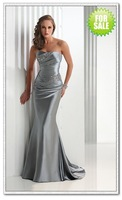 2011 Hot Sexy Mermaid Strapless Beaded Designer Open back Prom Dresses Stretch Satin Silver Evening Dresses Party Dresses Gown