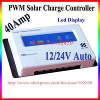 40Amp LED display,Solar Panel Controller,12/24V auto Sensing,PWM Control Charger,Adjustable Light On + Light Off Timer