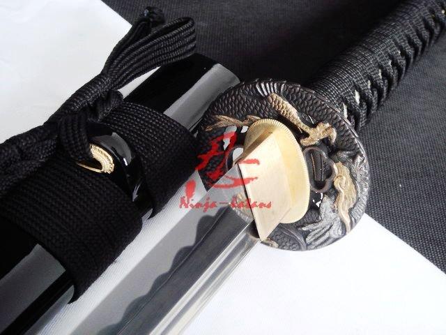 Handmade japanese katana black dragon tsuba sharpened(China (Mainland))