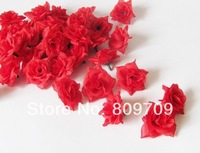 "100pcs/Lot Artificial Silk Rose Head 1.6"" Flower Heads Lifelike Wedding Home Party Decor, Red Color ,Wholesale,"