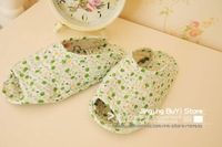 FreeShipping Green Flower fashion thin lady slipper/indoor/house/100% Cotton/so many styles you can mix