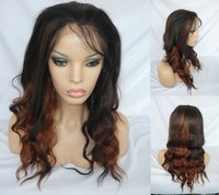 Brown mix Long LACE FRONT WIG wave 18inch #2/30 hot sale Heat Safe