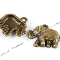 Wholesale - 120pcs Elephant Antique Bronze Tone Charms Loop pendants Beads Animal Jewerly Findings 20MM 140809