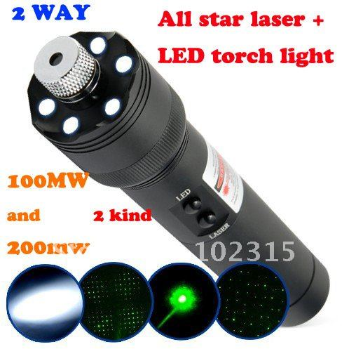 100/200mw 532nm led falshlight torch and Green laser pointer torch pen all star funciton together freeshipping no using manual(China (Mainland))