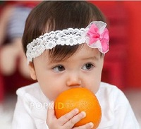 ems free shipping 18pcs/lot wholesale baby bowknot lace headbands /princess ribbon hair band/ white lace flower headbands
