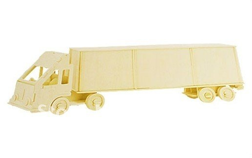 Children Wood Craft Container Freight Liner Model 3D Puzzle Wooden Toy Gift(Hong Kong)