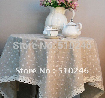 new arrival 100% linen flower embroidered decoration hometextile table cover tablecloth