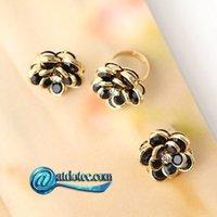 Min Order 12$ Fashion Jewelry Retro Vintage Rose Petal Design Ring Crystal Rings JZ0044