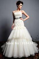 Free shipping CX-17 Charming Mermaid Strapless Sleeveless Beaded Belt Applique Satin Wedding Dress Custom-made