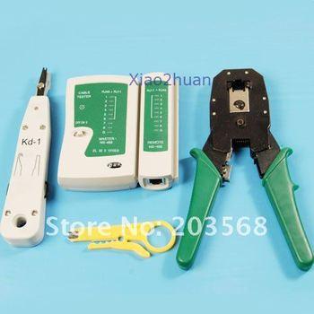 D19 RJ45 RJ11 Lan Cable Tester +Crimper +Pliers+Impact Tool