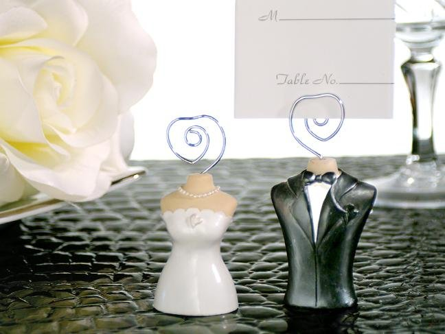 Promotion Wedding gift wholesale and reatail black and white Bride & Groom Place Card Holders 12pieces/lot factory direct sale(China (Mainland))