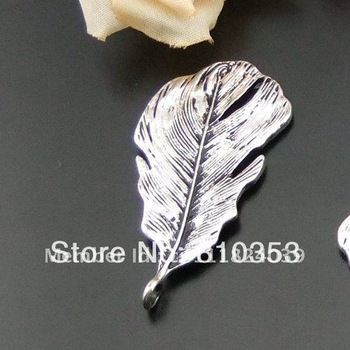 Jewellry Finding 49*25mm Wholesale Fashion Antiqued Style Silver Color Alloy Leaf Charm Pendant 10PCS 01298