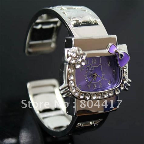 Free Shipping Hot Selling 1pcs Purple Hello Kitty Crystal Diamond Quartz Wrist Watch With Stainless Steel