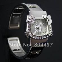 Guranteed New 100% 1pcs White Women's Girls Hello Kitty Crystal Diamond Quartz Wrist Watch With Stainless Steel Bangle Jewelry