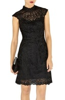 Вечернее платье 275] Evening new Women's Applique Lace Dress pencil dress beige / black Party Evening Mini Dresses US SIZE 4-12