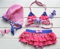 3 Pcs Toddler Baby Kid Girl Multi-layer lace Bow Swim suit Pink Swimwear with Hat bikinis