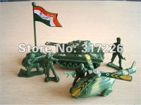 Freeshipping Wholesale Toy Figure Models tank, fighter, flag, flag base and 4 soldiers set(8 pieces)(2 inch)