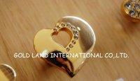 15mm Free shipping golden color crystal glass furniture knob/zinc alloy furniture drawer knob